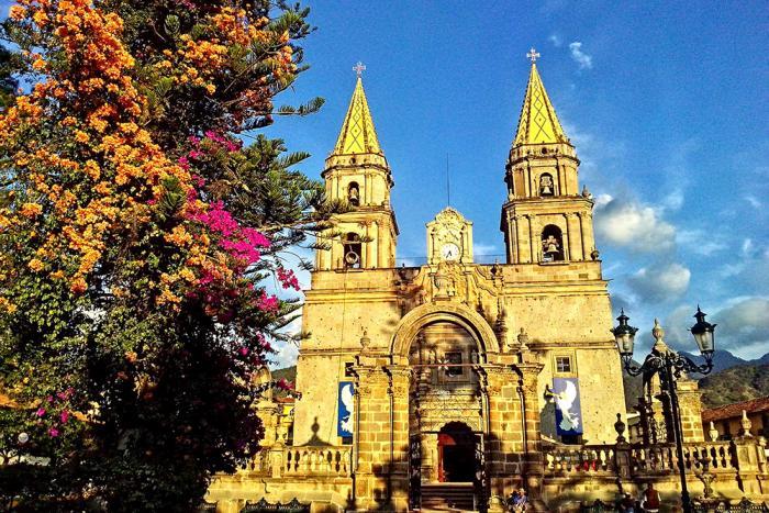 La imagen muestra una parroquia con un hermoso estilo y un arbol a un costado con flores hermosas